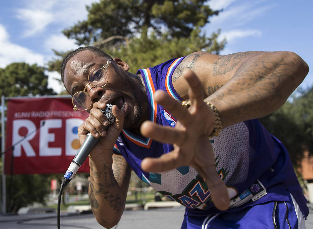 Jovi Jov performs at the RebFest Music Festival on Tuesday, March 12, 2019, at UNLV, in Las Vegas. (Benjamin Hager Review-Journal) @BenjaminHphoto