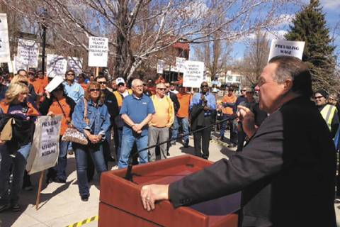 AFL-CIO leader Danny Thompson speaks to protesters who gathered Wednesday outside the Capitol in Carson City to protest changes proposed for Nevada's prevailing wage law.