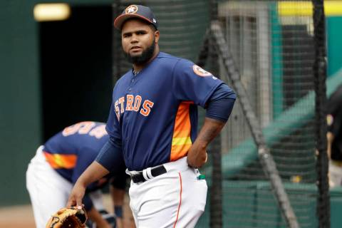 Houston Astros pitcher Francis Martes waits to warm up before a baseball against the Los Angeles Angeles in Houston on June 9, 2017. Martes has been suspended for 80 games following a positive tes ...