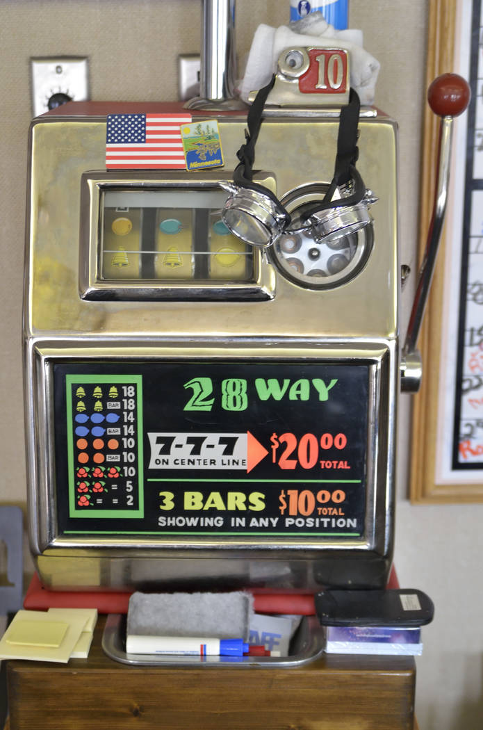 A vintage slot machine is shown in the office of Kenny Epstein, owner of the El Cortez hotel-casino, on the property at 600 E. Fremont St. in Las Vegas on Wednesday, March 6, 2019. (Bill Hughes/La ...