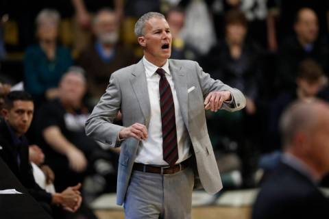 USC Trojans head coach Andy Enfield in the first half of an NCAA college basketball game Saturday, March 9, 2019, in Boulder, Colo. (AP Photo/David Zalubowski)