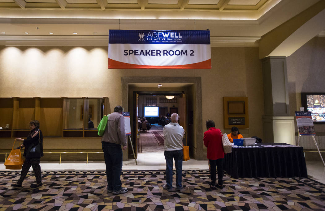 Attendees check out different speakers and presentations during the fifth annual AgeWell Expo at the Rio Convention Center in Las Vegas on Saturday, March 16, 2019. (Chase Stevens/Las Vegas Review ...
