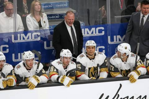 Vegas Golden Knights coach Gerard Gallant talks to his players during the second period of an NHL hockey game against the San Jose Sharks at T-Mobile Arena in Las Vegas on Thursday, Jan. 10, 2019. ...