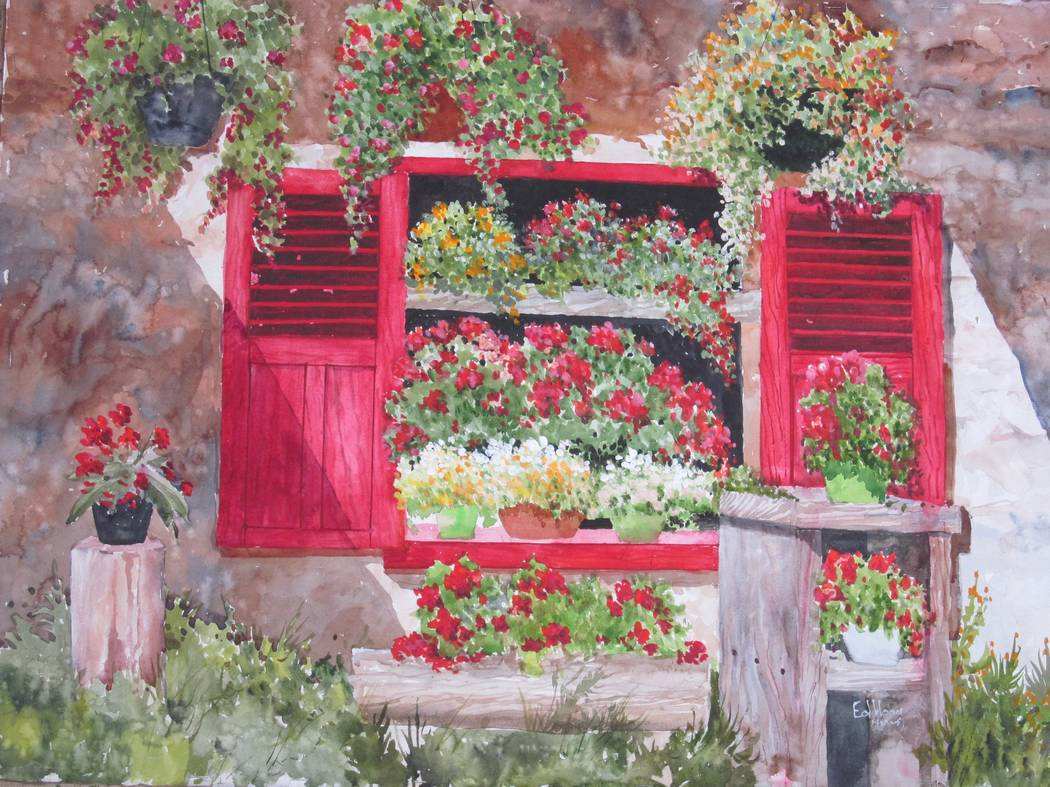 "Edwin Hoag ""Red Shutters"" (Las Vegas Cultural Affairs) Nevada Watercolor Society's 50th anniversary ""Signature Members Show"" in the Mayor's Gallery at Historic Fifth Street School."