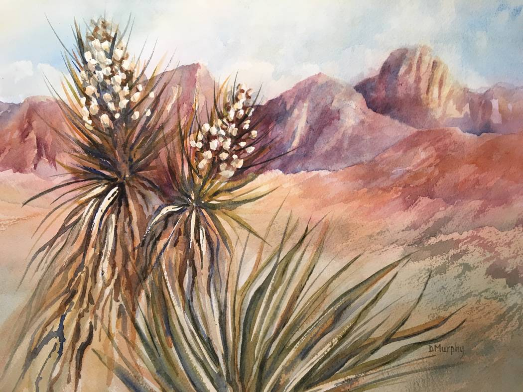 "Doni Murphy ""Yucca Bloom"" (Las Vegas Cultural Affairs) Nevada Watercolor Society's 50th anniversary ""Signature Members Show"" in the Mayor's Gallery at Historic Fifth Street School."