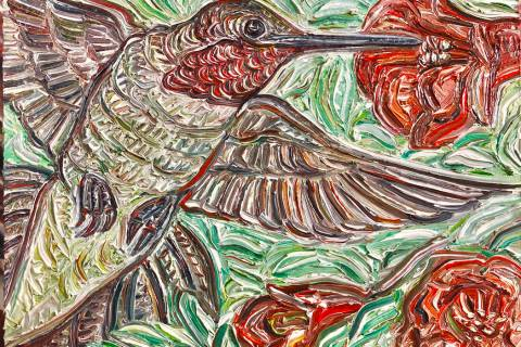"Painting by Gig Depio on display in ""Birds of NV"" exhibit. (Priscilla Fowler Fine Art)"