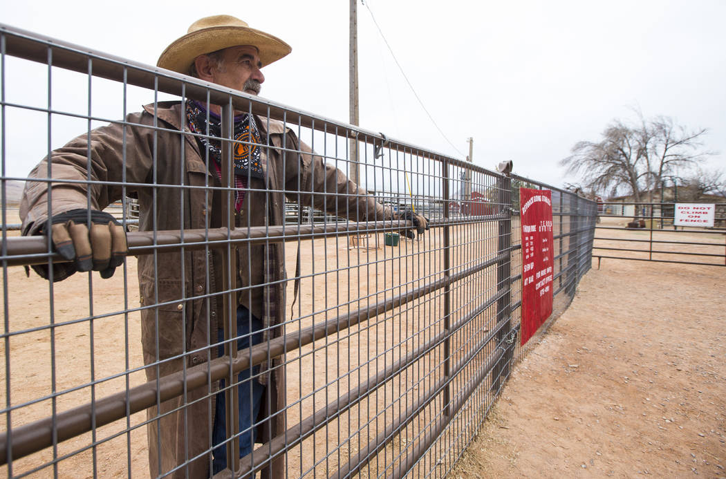 Ranch hand Steve Myers, who works at the Red Rock Riding Stables, looks out at Bonnie Springs Ranch outside of Las Vegas on Saturday, Jan. 12, 2019. The ranch is under contract to be sold and demo ...