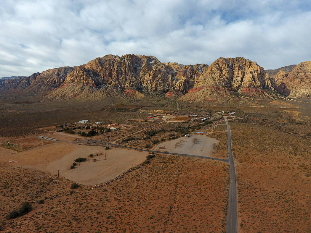 Aerial view of Bonnie Springs Ranch on Wednesday, February 20, 2019, where the Clark County Planning Commission has approved a plan to build 20 homes on 64 acres after the property was sold to a d ...