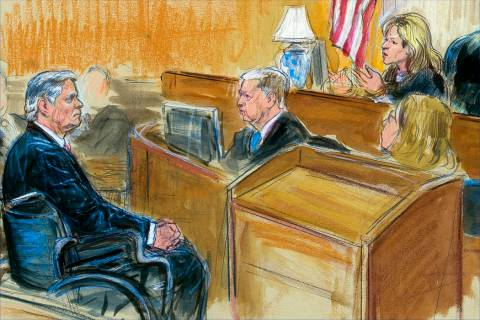 This courtroom sketch shows Paul Manafort listening to Judge Amy Berman Jackson in the U.S. District Courtroom during his sentencing hearing, in Washington, Wednesday, March 13, 2019. (Dana Verkou ...