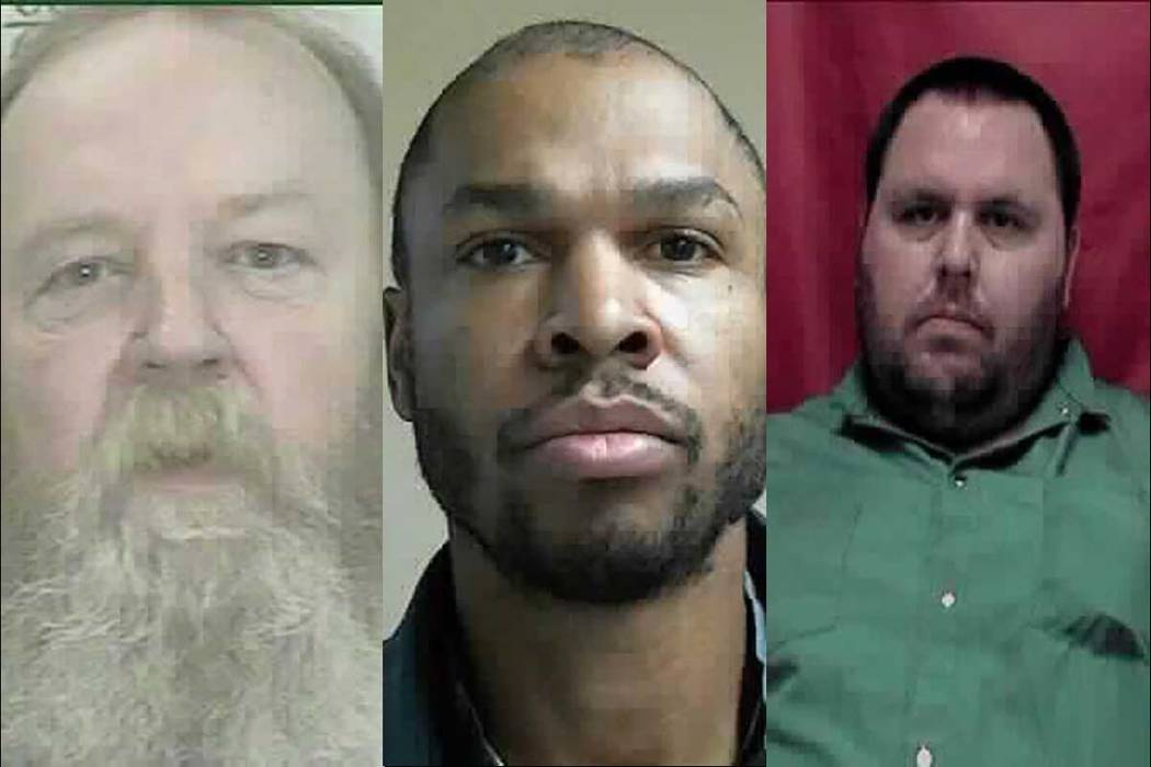 Three inmates at the Northern Nevada Correctional Center in Carson City died over the weekend of Dec. 8-19, 2018. They were Kenneth Rose, 63, left; Damian Hall, 47; and Dustin Wattenberg, 32. (Nev ...