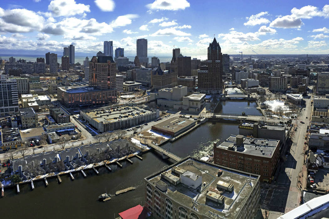 This March 7, 2018 photo shows the downtown skyline of Milwaukee. (Mike De Sisti/Milwaukee Journal-Sentinel via AP)