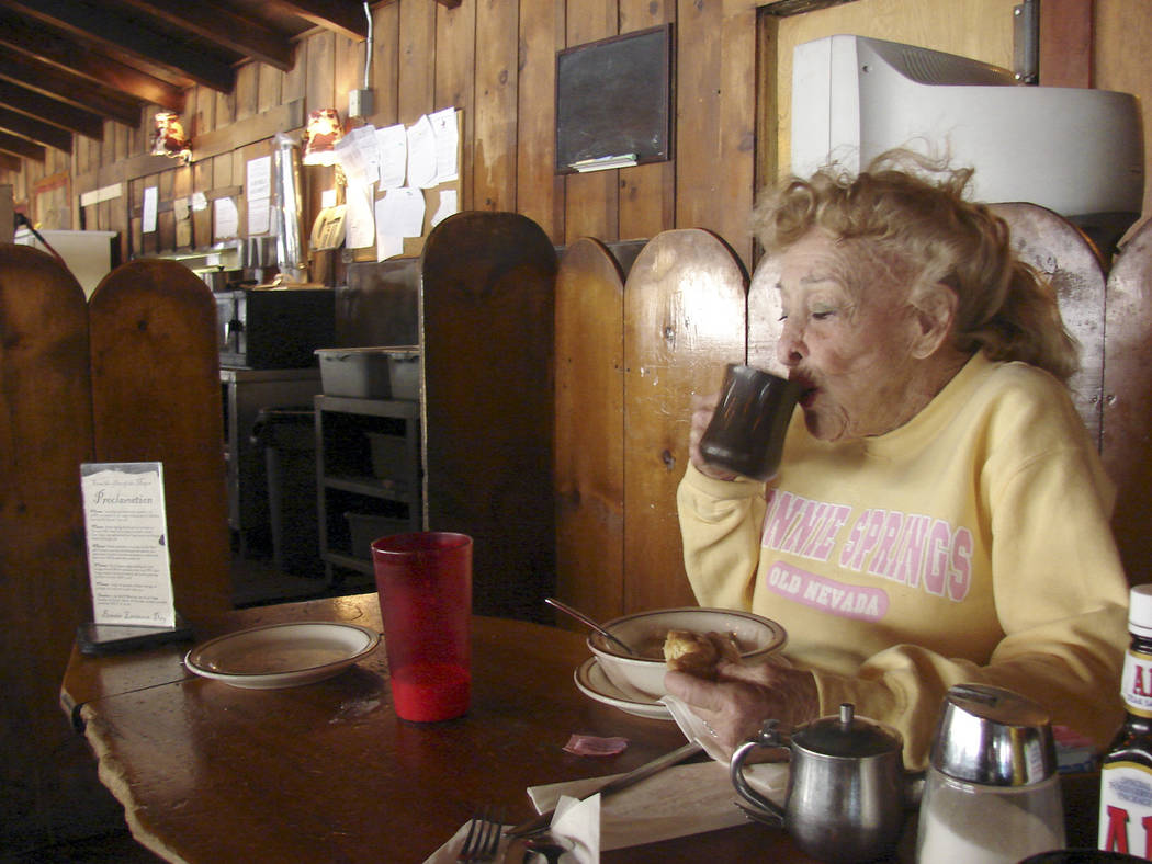 Bonnie McGaugh, founder of the Bonnie Springs petting zoo, has breakfast at her restaurant, the Bonnie Springs Ranch Restaurant, after making her morning visit to the animals on Tuesday, March 24, ...
