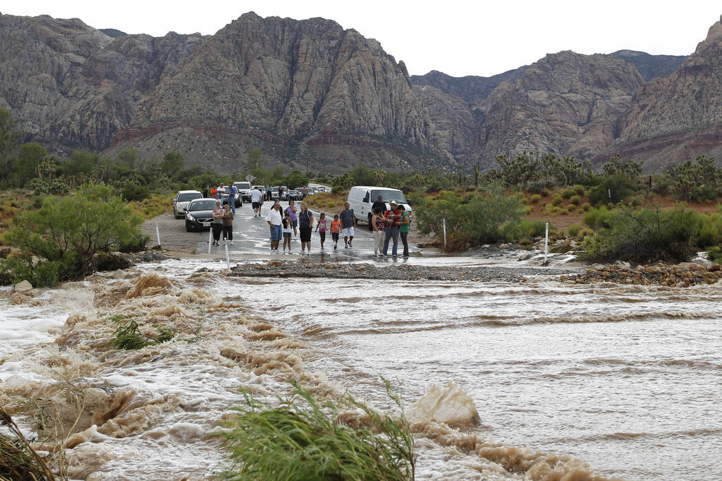 Roadway flooded over at Bonnie Springs Road, Sunday, July 3, 2011. (Las Vegas Review-Journal file)