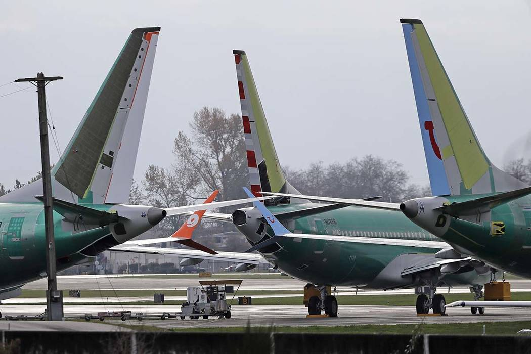 In this Nov. 14, 2018, file photo Boeing 737 MAX 8 planes are parked near Boeing Co.'s 737 assembly facility in Renton, Washington. (Ted S. Warren/AP file)