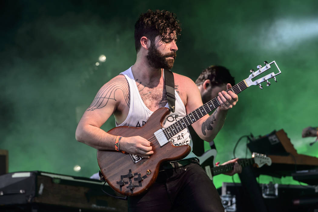 Yannis Philippakis from British band Foals performs at the Glastonbury music festival at Worthy Farm, in Somerset, England, Friday, June 24, 2016. (Photo by Jonathan Short/Invision/AP)