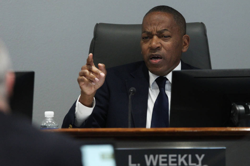 Clark County Commissioner Lawrence Weekly, board member for the Las Vegas Convention and Visitors Authority, speaks during a board meeting at the Las Vegas Convention Center in Las Vegas, Tuesday, ...