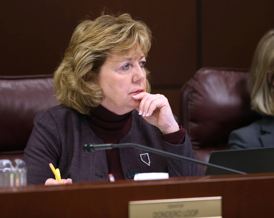 Sen. Marilyn Dondero Loop, D-Las Vegas, during a Judiciary Committee meeting in the Legislative Building in Carson City Wednesday, Feb. 6, 2019. (K.M. Cannon/Las Vegas Review-Journal) @KMCannonPhoto