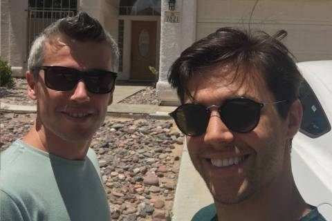 "Sarper ""Sharp"" Celenk and John Unal pose in front of Innosance's facility in Las Vegas. (Courtesy)"