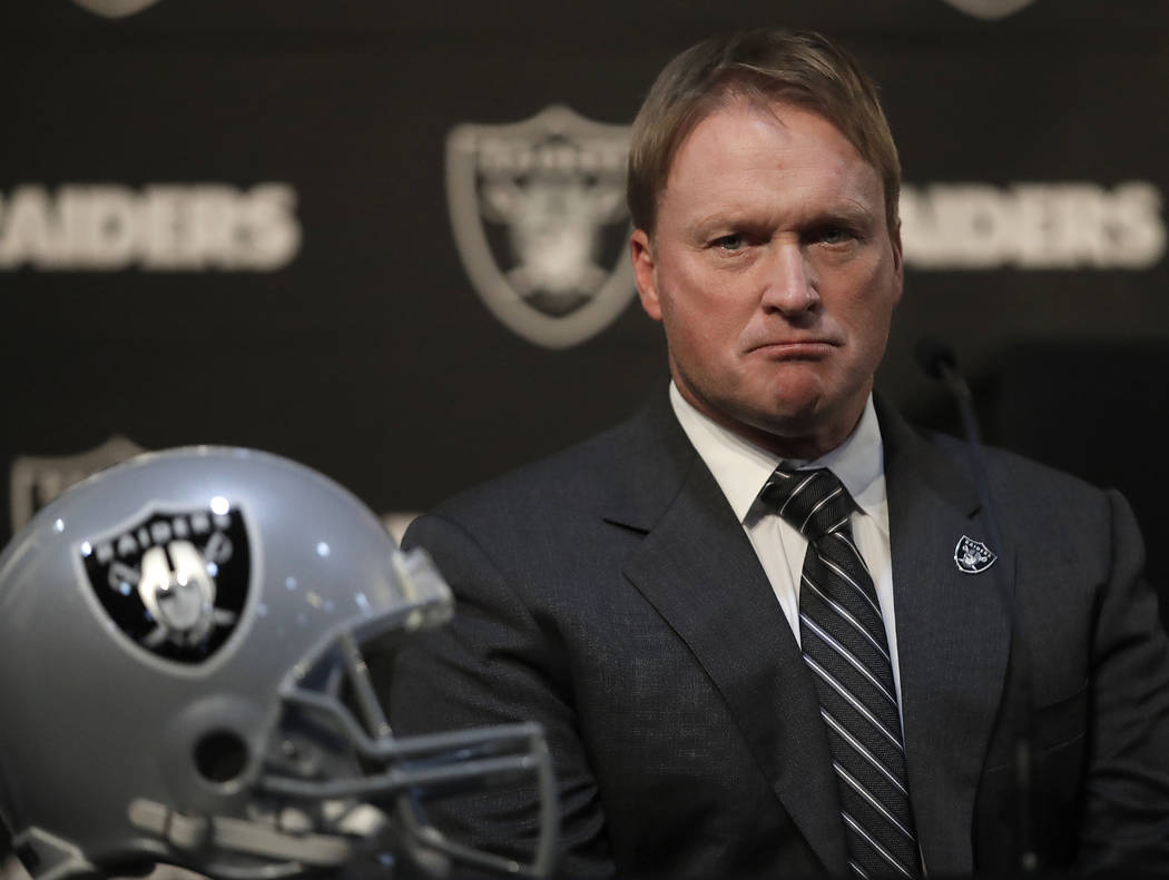 Oakland Raiders coach Jon Gruden listens to questions from the media during an NFL news conference regarding the signing of wide receiver Antonio Brown Wednesday, March 13, 2019, in Alameda, Calif ...