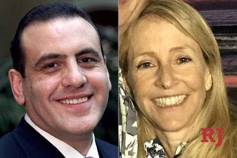 Former Strip casino executive Gamal Aziz, left, and former San Diego media executive Elisabeth Kimmel, right, each are accused of paying hundreds of thousands of dollars in bribes to gain their ch ...