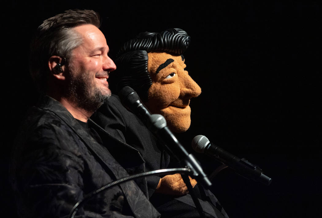 """Terry Fator performs with his Dean Martin puppet, which he's bringing into his updated show, """" """"An Evening With the Stars,"""" as he celebrates 10 years at the Mirage. (Tom Donoghue)"""