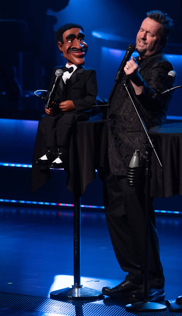 """Terry Fator performs with his Sammy Davis Jr. puppet, which he's bringing into his updated show, """" """"An Evening With the Stars,"""" as he celebrates 10 years at the Mirage. (Tom Donoghue)"""