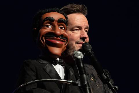 "Terry Fator performs with his Sammy Davis Jr. puppet, which he's bringing into his updated show, "" ""An Evening With the Stars,"" as he celebrates 10 years at the Mirage. (Tom Donoghue)"