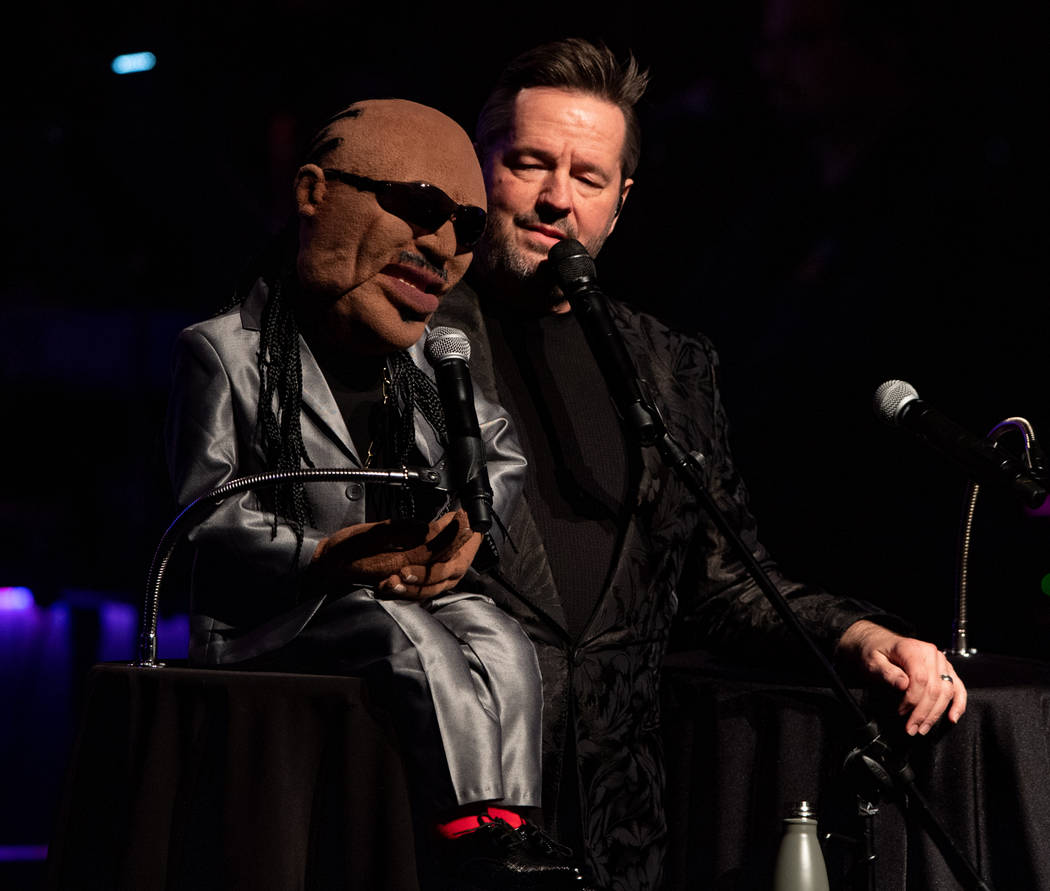 """Terry Fator performs with his Stevie Wonder puppet, which he's bringing into his updated show, """" """"An Evening With the Stars,"""" as he celebrates 10 years at the Mirage. (Tom Donoghue)"""