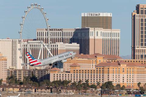 An American Airlines flight departs McCarran International Airport in Las Vegas, Sunday, January 28, 2018. Richard Brian/Las Vegas Review-Journal @vegasphotograph