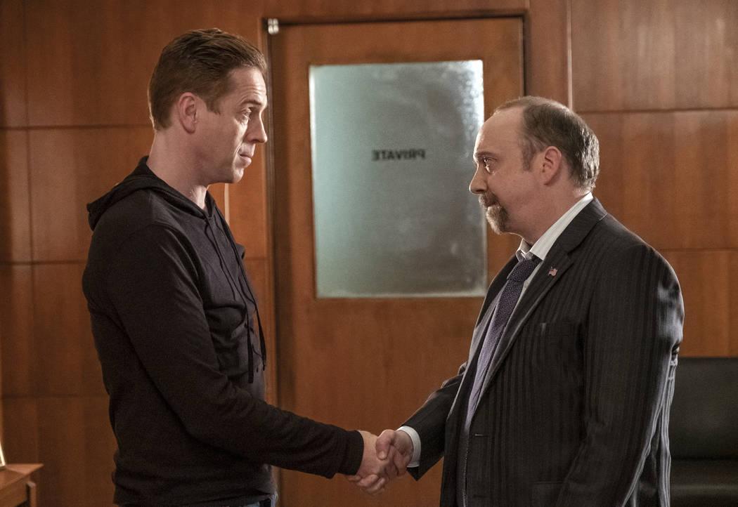 "Damian Lewis as ""Axe"" and Paul Giamatti as Chuck Rhoades in BILLIONS (Season 4, Episode 4, ""Overton Window""). - Photo: Jeff Neumann/SHOWTIME"