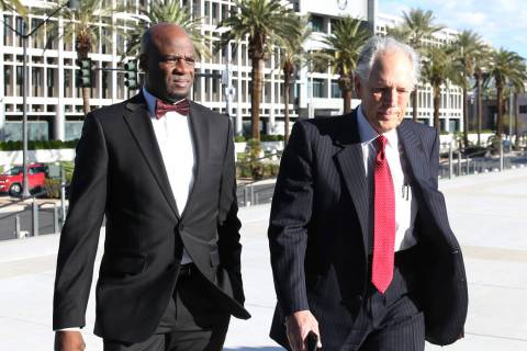Former Nevada Senate Majority Leader Kelvin Atkinson, left, and his attorney, Richard Wright, arrive at the Lloyd George U.S. Courthouse on Monday, March. 11, 2019, in Las Vegas. Bizuayehu Tesfaye ...