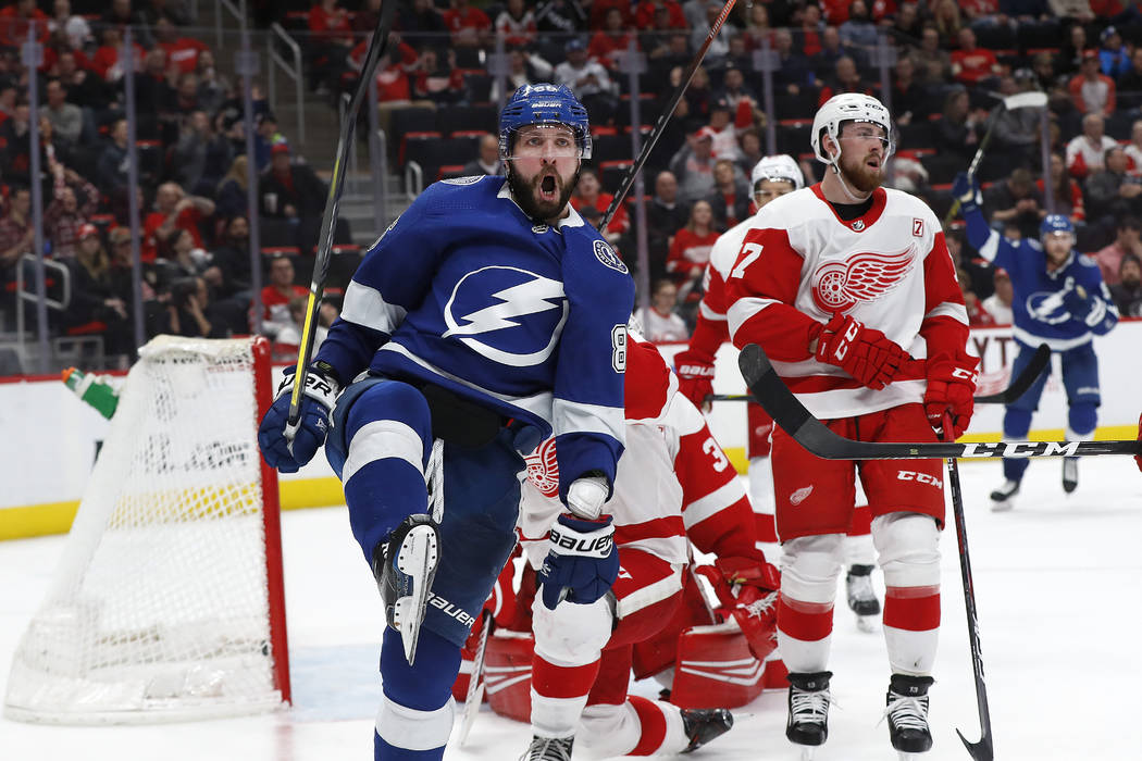Tampa Bay Lightning s Nikita Kucherov celebrates his goal against the  Detroit Red Wings in the third 2b11c34cf