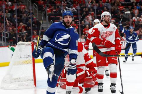 Tampa Bay Lightning's Nikita Kucherov celebrates his goal against the Detroit Red Wings in the third period of an NHL hockey game, Thursday, March 14, 2019, in Detroit. Tampa Bay won 5-4. (AP Phot ...