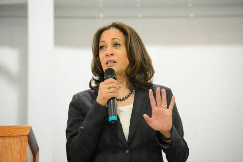 Sen. Kamala Harris, D-Calif., speaks during an event in St. George, S.C., on Saturday, March 9, 2019. (AP Photo/Meg Kinnard)