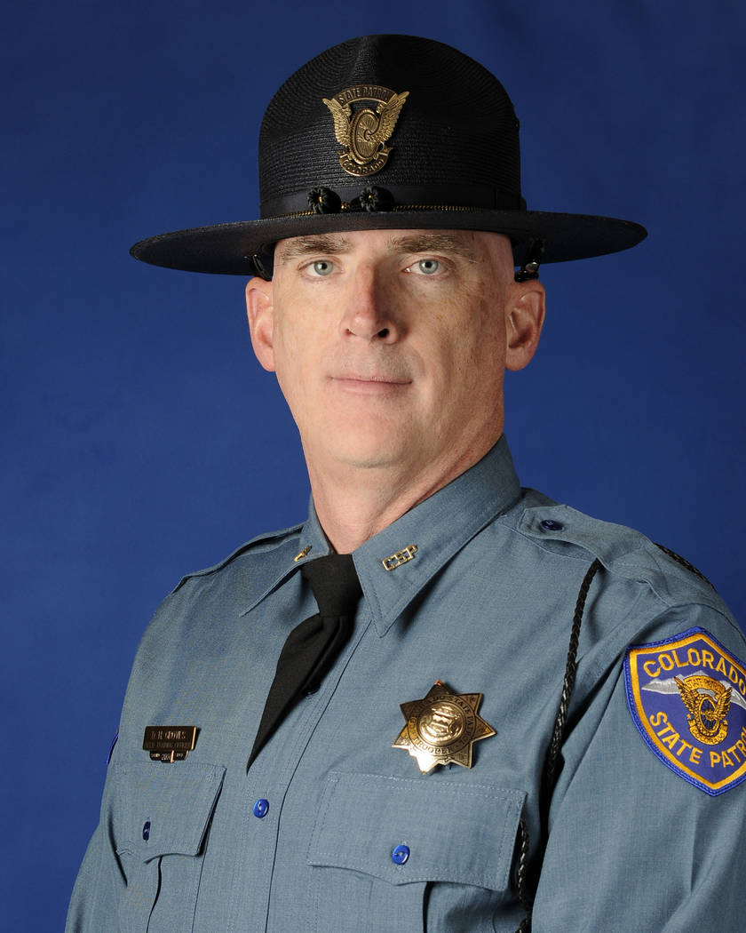 This undated photo provided by the Colorado State Patrol shows Cpl. Daniel Groves. The state patrol officer was hit and killed by a car as he was helping another driver who had slid off of Interst ...