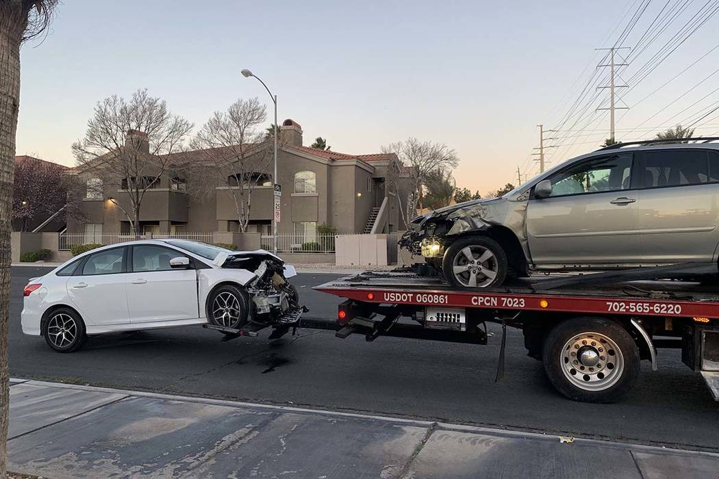 Two people were injured in a crash at Lindell and Flamingo roads early Thursday morning, March 14, 2019.(Jessica Terrones/Las Vegas Review-Journal)