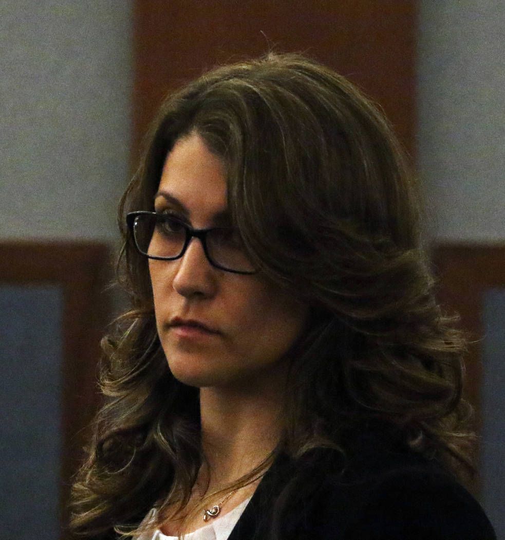 """Las Vegas Metro officer Rachel Sorkow appears in court at the Regional Justice Center on Thursday, March. 14, 2019, in Las Vegas. Sorkow is accused of using """"criminal justice information sy ..."""