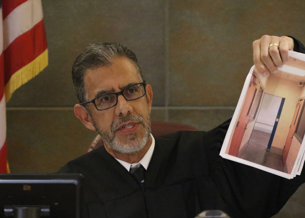 District Judge Michael Villani presides during Alexis Plunkett's, the jailed Las Vegas defense lawyer, bail hearing at the Regional Justice Center on Thursday, March. 14, 2019, in Las Vegas. Bizu ...