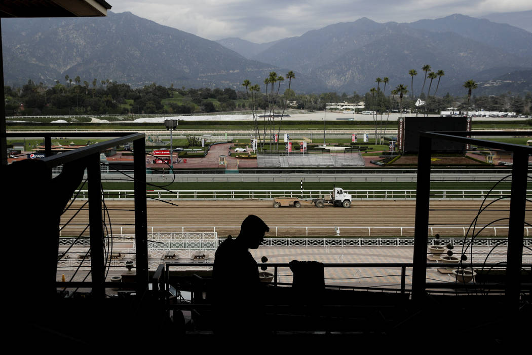 A general view of Santa Anita Park is shown Tuesday, March 5, 2019, in Arcadia, Calif. A filly that suffered a catastrophic injury during training Tuesday and was euthanized was the 21st horse to ...