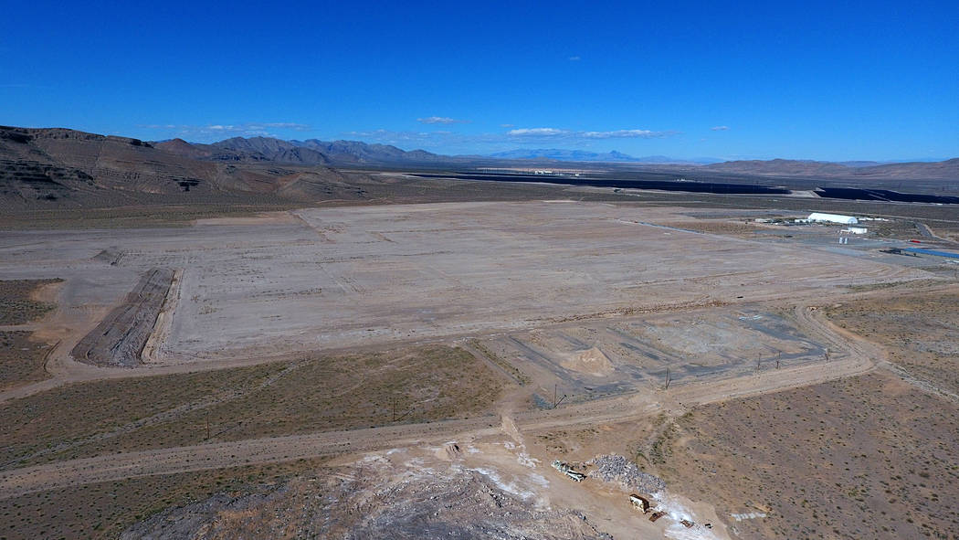 Aerial view of 900 acres at Apex Industrial Park that Faraday Future has put on the market for $40 million after bailing on its North Las Vegas auto factory plans. Thursday March 14, 2019. (Michae ...