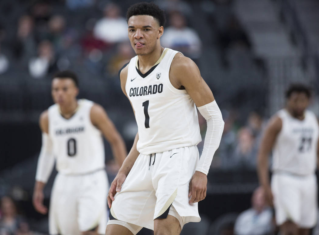 Colorado sophomore guard Tyler Bey (1), a Las Vegas native, runs up court during the Buffalo's Pac-12 tournament game with California on Wednesday, March 13, 2019, at T-Mobile Arena, in Las Vegas. ...