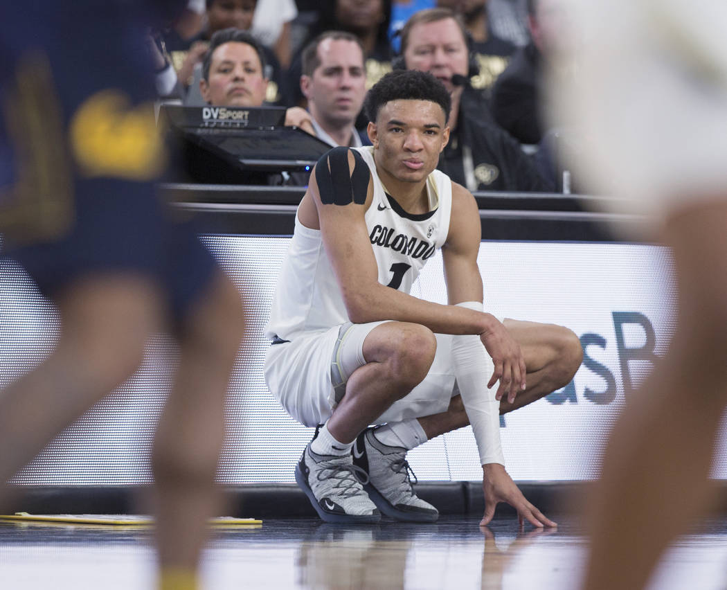 Colorado sophomore guard Tyler Bey (1), a Las Vegas native, waits to check in during the first half of the Buffalo's Pac-12 tournament game with California on Wednesday, March 13, 2019, at T-Mobil ...