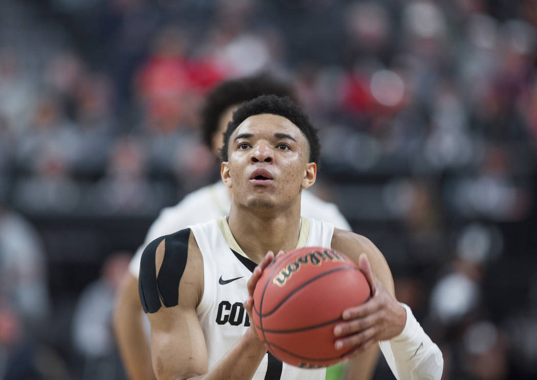 Colorado sophomore guard Tyler Bey (1), a Las Vegas native, shoots a free throw in the second half during the Buffalo's Pac-12 tournament game with California on Wednesday, March 13, 2019, at T-Mo ...