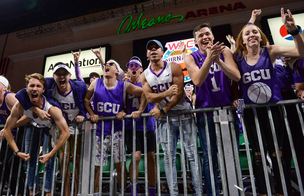 Fans in the Grand Canyon University student section cheer on their team in the second half of the opening round of the Western Athletic Conference tournament against Seattle University in Las Vega ...