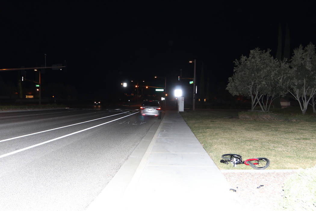 Police investigate a hit-and-run accident involving an 8-year-old boy Sunday, March 3, 2019, near The Vistas Park in Las Vegas. (Las Vegas Metropolitan Police Department)