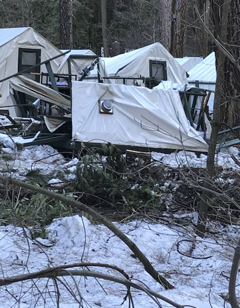 A damaged tent cabin after the recent heavy snowpack in Yosemite National Park, Calif. on Wednesday, March 13, 2019. The park announced that there will be late seasonal openings to facilities due ...