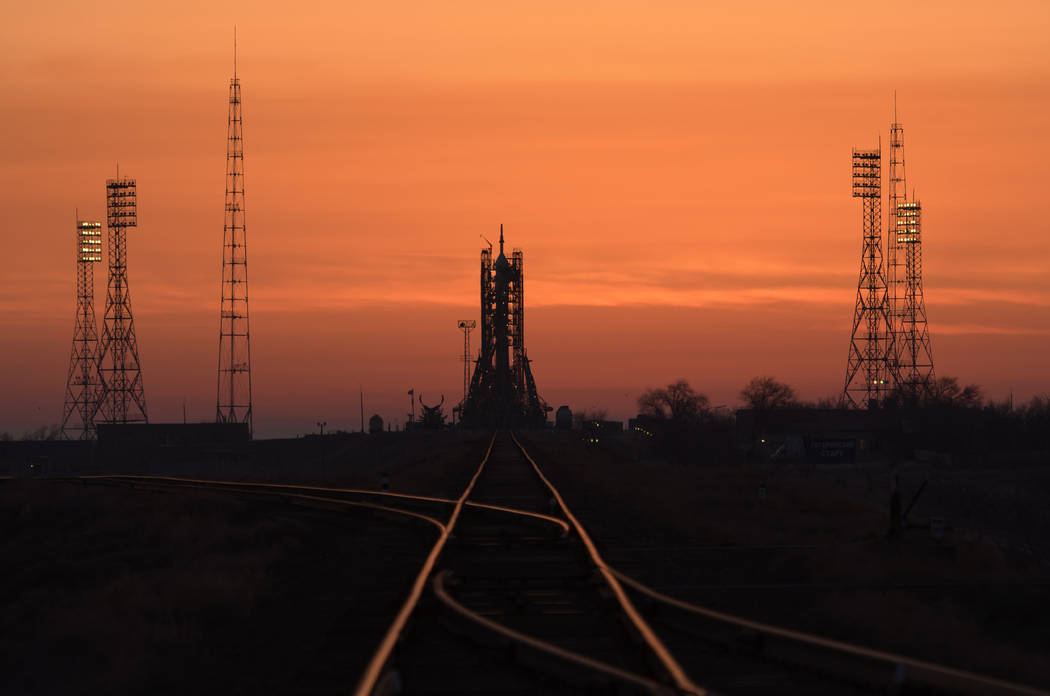 The Soyuz rocket is seen at dawn on launch site 1 of the Baikonur Cosmodrome, Thursday, March 14, 2019, in Baikonur, Kazakhstan. Expedition 59's astronauts Nick Hague and Christina Koch of NASA, a ...