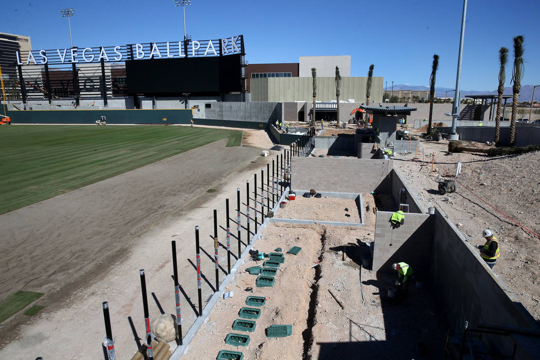 Construction continues on the home and visitor bull pens at Las Vegas Ballpark Thursday, March 14, 2019. (K.M. Cannon/Las Vegas Review-Journal) @KMCannonPhoto