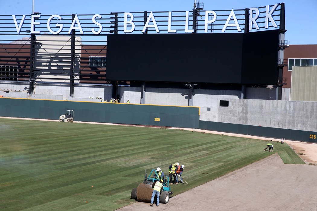 Sod is laid in the right field at Las Vegas Ballpark Thursday, March 14, 2019. (K.M. Cannon/Las Vegas Review-Journal) @KMCannonPhoto