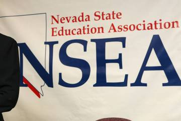 A Nevada State Education Association (NSEA) banner is pictured in this file photo.